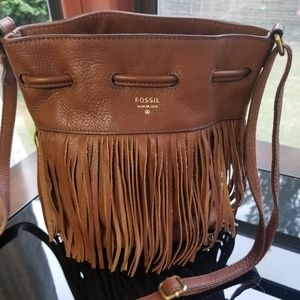 Fossil fringed leather small drawstring crossbody